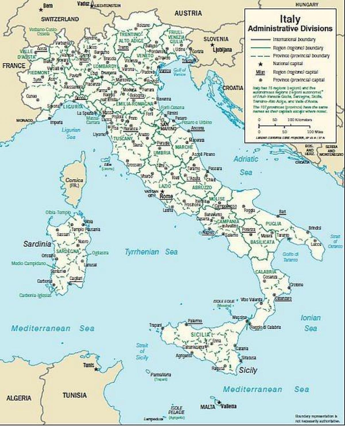 Mapa Juzna Italija Gradova Zemljovid Italije Juznoj Gradova